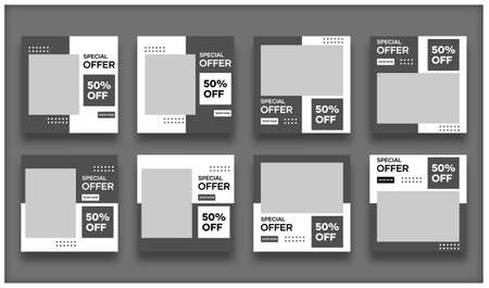 Vector collection of social media template designs. With a black and white background. Suitable for banner, social media posts and website internet advertising Illusztráció