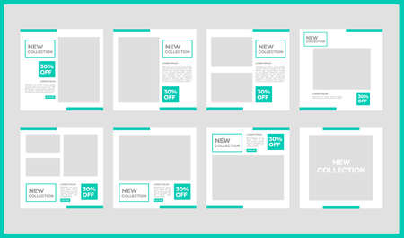 Vector social media template design bundle. With light green color on white background. Suitable for social media posts and website internet advertising