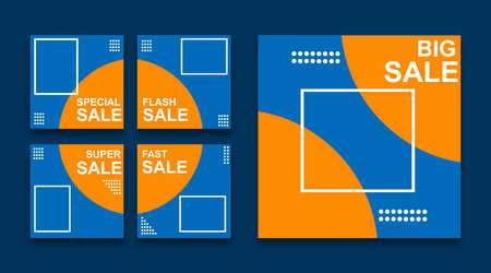 Set of editable minimal square banner templates for social media content. Blue and orange background color. Suitable for social media posts and website internet advertising