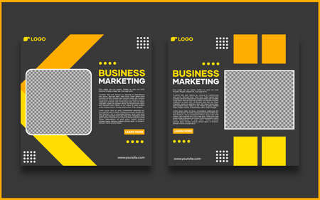 Vector social media banner template. With black and yellow lines. Suitable for social media posts and website internet advertising