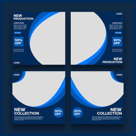 Collection of social media template designs. With a dark blue background. Suitable for social media posts and website internet advertising
