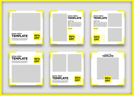 Editable social media banner template bundle. In yellow and white. Suitable for social media posts and website internet advertising