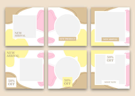 Vector bundle social media template design. With an aesthetic hue of brown, yellow and pink. Suitable for social media posts and website internet advertising