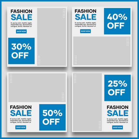 Collection of template designs for social media promotion. In light blue. Suitable for social media posts and fashion sales website internet ads