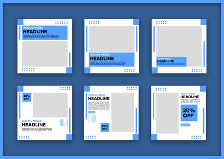 Editable social media banner template bundle. In blue and white. Suitable for social media posts and internet website banner ads