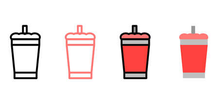Icons of soda cups and straws with multiple styles, outline, colored outline and flat icons. Vector icon design