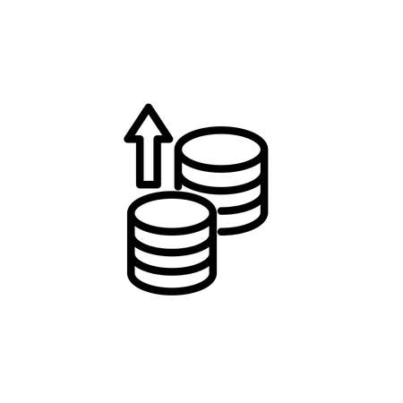 Coin sending icon. Money and banking icons, outline icon style. Vector Ilustração Vetorial