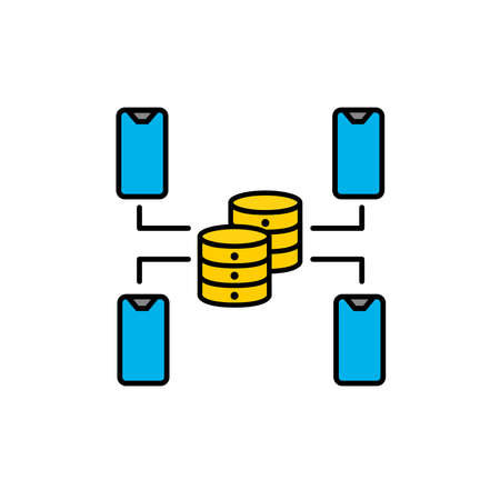 Illustration of a mobile database network. Illustration of technology and artificial intelligence. Vector icon
