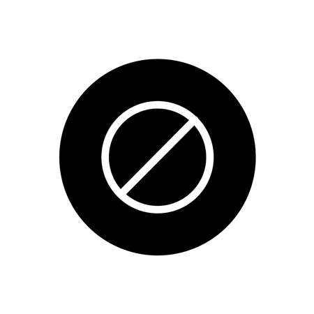 Disable icon. Black round style disable sign symbol. Vector