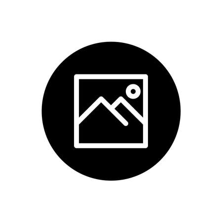 Image icon. Image file sign symbol in black round style. Vector
