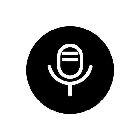 Voice recorder icon. Voice recorder sign symbol in black round style. Vector