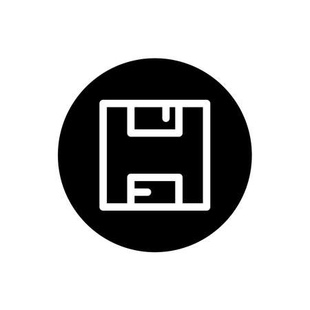 Floppy disk icon. Floppy disk save button sign symbol in black round style. Vector