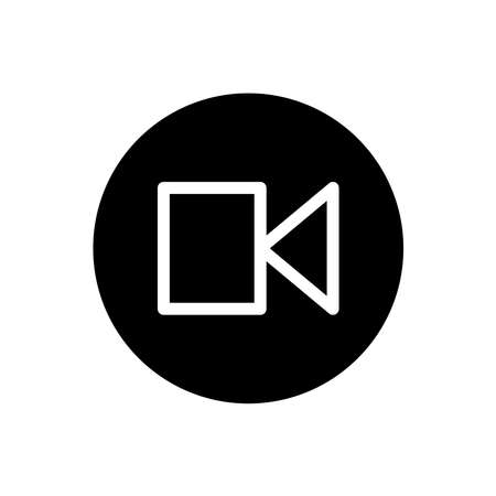 Video camera icon. Video recording camera sign symbol in black round style. Vector