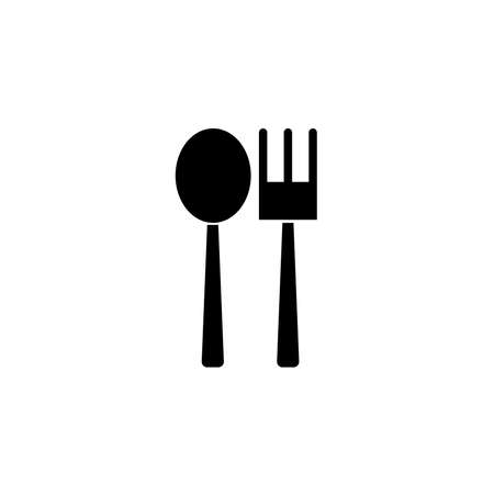 Spoon and fork glyph icon. Cafe and restaurant icon in black solid style. Vector  イラスト・ベクター素材