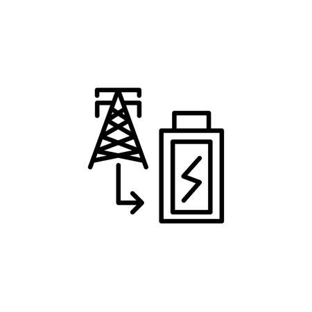 Electrical energy icon with line style