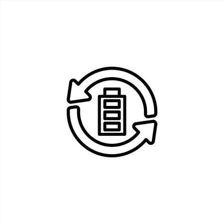 Battery recycling icon with line style