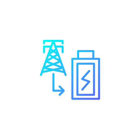 Power plant tower icon in gradient blue color style