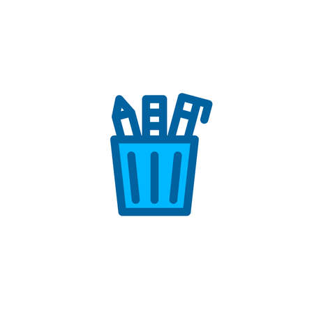 Stationery container icon in blue color style. Vector icon with pixel perfect