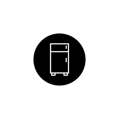 Refrigerator icon in black round style. Vector icon pixel perfect