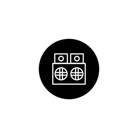 Speaker device icon in black round style. Vector icon pixel perfect