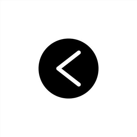Left direction icon in glyph or solid black style. Vector