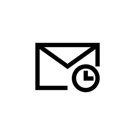 Pending email symbol icon in outline style. Message and email symbols with conditions. Vector