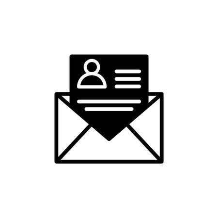 Online news letter email icon in glyph style. Icons for online learning and home study.