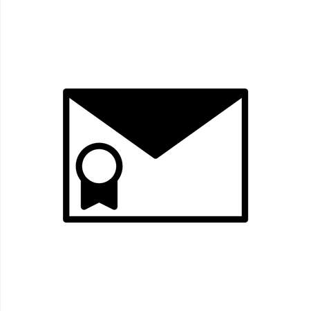 Important email icon in glyph style. Icons for online learning and home study.