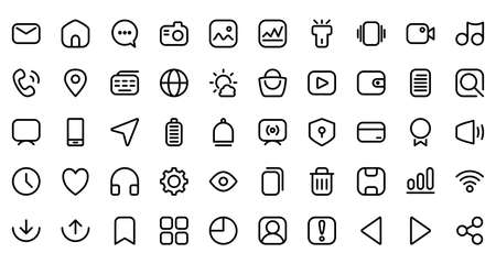 User interface icon set with line style, including home screen application like message, phone, camera, pin location, complete 50 icons for UI UX design.