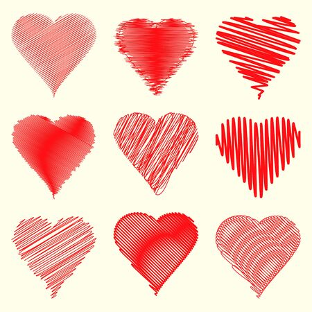 specially: Nine different heart shapes collection specially for valentines day. Illustration