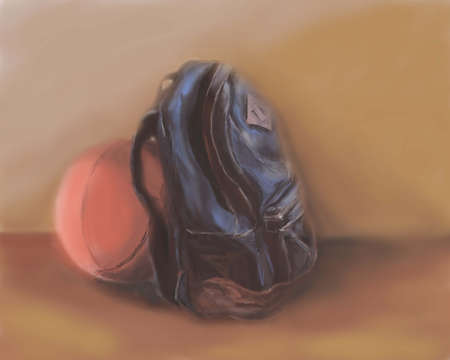 schoolbag: schoolbag and basketball. Drawn by oil paints. Illustration