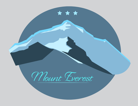everest: Mount Everest label with type design in vintage style. Illustration