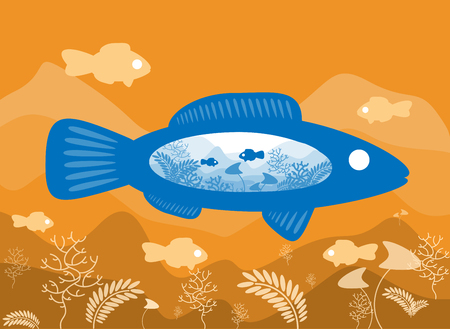 under water grass: Fish on the background of the sea floor with an abstract representation of the world. Vector illustration Illustration