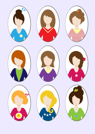 hair dresser: Cute illustrations of beautiful young girls with various hair style. Vector illustration