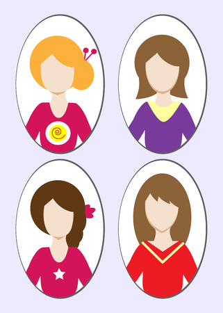 blonde curly hair: Cute illustrations of beautiful young girls with various hair style. Vector illustration