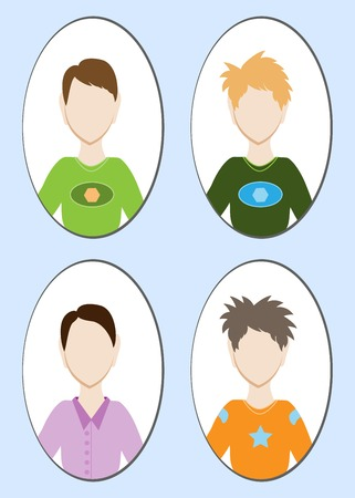 handsome young man: Cartoon illustration of a handsome young man with various hair style. Vector illustration