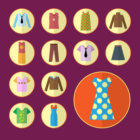 skirt suit: Clothing icons set, shopping elements, flat design. Vector illustration