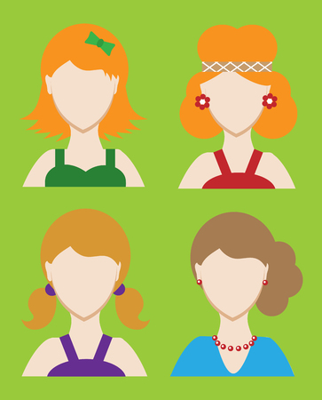 headshot: Set of female avatar or pictogram for social networks. Modern flat colorful style. Vector illustration