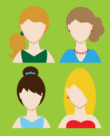 Set of female avatar or pictogram for social networks. Modern flat colorful style. Vector illustration