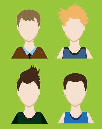 gender identity: Set of Male avatar or pictogram for social networks. Modern flat colorful style. Vector illustration
