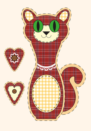 Cute cartoon cat in flat design for greeting card, invitation and logo with fabric texture. Vector illustration Illustration