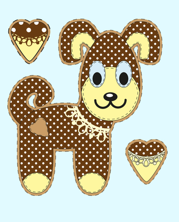 drool: Cute cartoon dog in flat design for greeting card, invitation and logo with fabric texture. Vector illustration Illustration