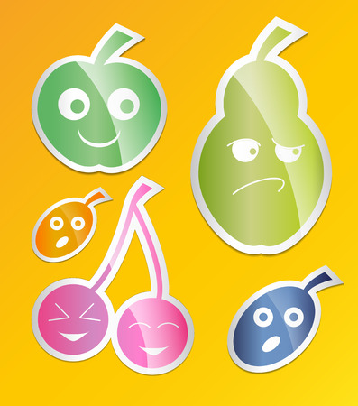 confiture: Berry icon set. Labels with berries apple pear, plum, apricot, cherry Flat style. Vector illustration