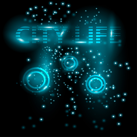brilliancy: Abstract bright glowing background. City Live. Vector illustration