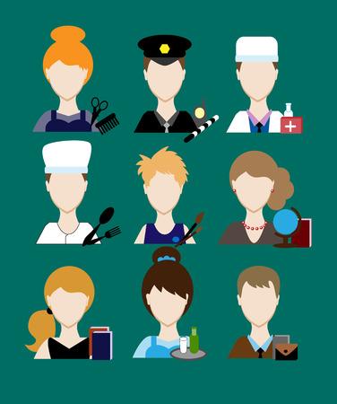 user icon: Avatars profession people cop doctor, cook, hairdresser, an artist, teacher, waiter, a businessman, secretary. Face men uniform. Avatars in flat design. Vector illustration Illustration