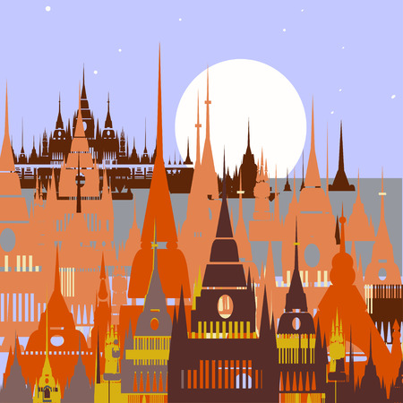 chateau: Cartoon background of Arab town. Vector illustration Illustration
