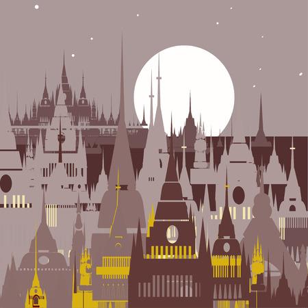 cupola: Cartoon background of Arab town. Vector illustration Illustration