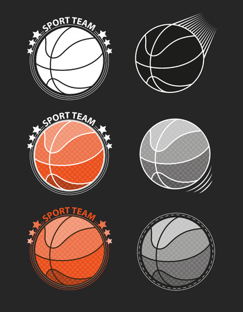 basketballs: Set of basketballs on a gray background. Vector illustration