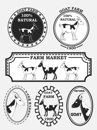 goat cheese: Set of goat labels, badges and design elements. Vector illustration