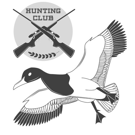 Vintage label with a duck, weapons for lucky hunting club. Vector illustration Illustration